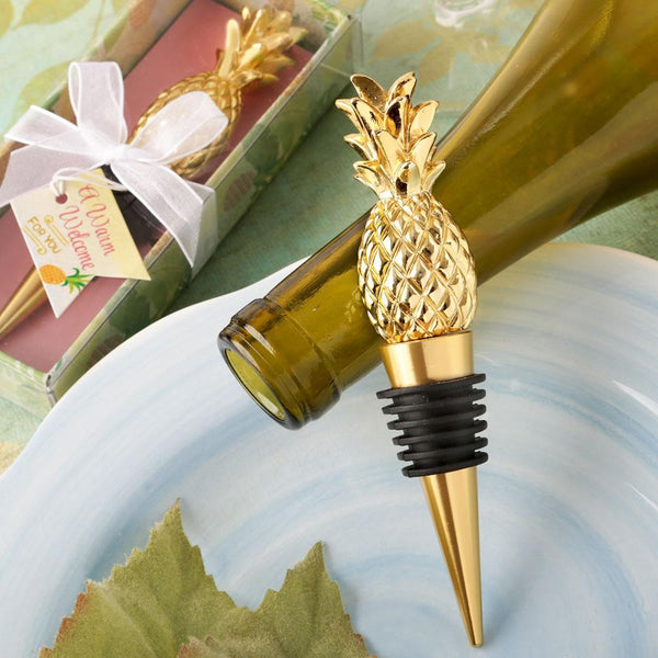 Warm welcome collection pineapple themed gold bottle stopper-Personalized Coasters-JadeMoghul Inc.