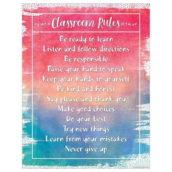 WATERCOLOR CLASSROOM RULES CHART-Learning Materials-JadeMoghul Inc.