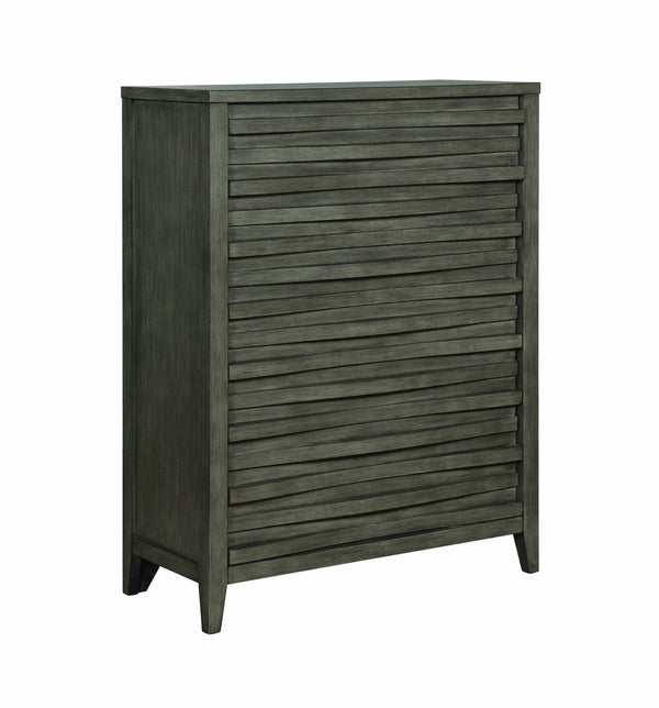 Wave Patterned Wooden Chest with Five Spacious Drawers, Dark Taupe Brown