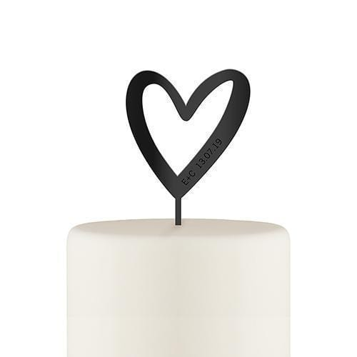 Wedding Cake Toppers Personalized Mod Heart Acrylic Cake Topper - Black (Pack of 1) Weddingstar