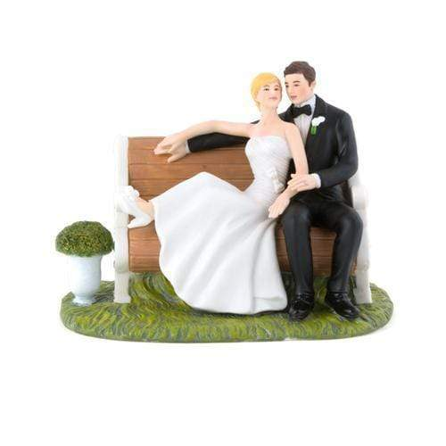 Wedding Cake Toppers Sitting Pretty on a Park Bench  Couple Figurine (Pack of 1) JM Weddings