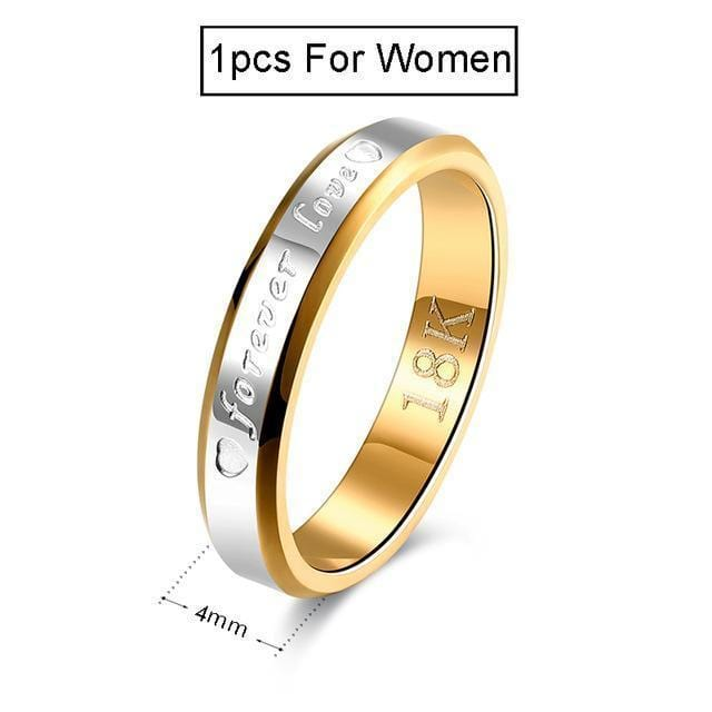 Wedding Couple Rings For Women & Men Engagement Stainless Steel Gold-color Forever Love Jewelry Fashion Ring Lover Gift No Fade-11-1pcs For Women-JadeMoghul Inc.