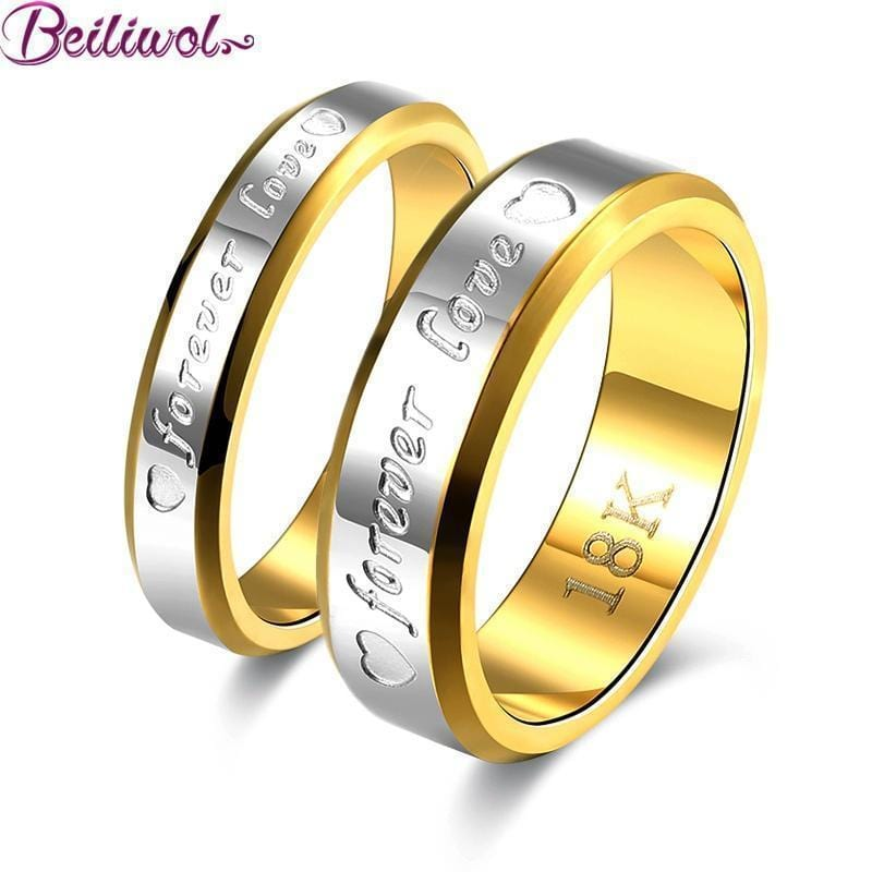 Wedding Couple Rings For Women & Men Engagement Stainless Steel Gold-color Forever Love Jewelry Fashion Ring Lover Gift No Fade-5-1pcs For Men-JadeMoghul Inc.