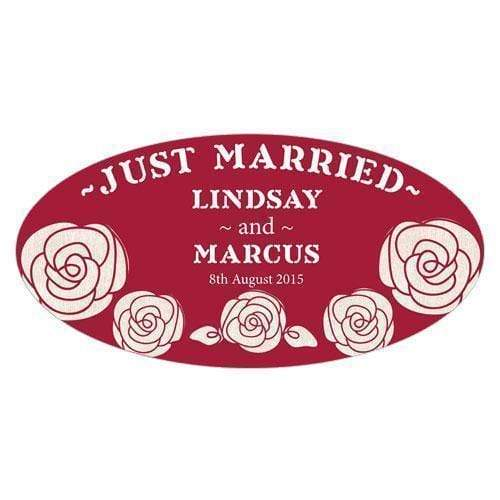 Wedding Signs Rose Large Cling Plum (Pack of 1) JM Weddings
