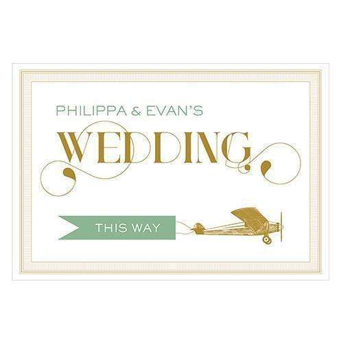 Wedding Signs Vintage Travel Wedding Directional Sign Daiquiri Green (Pack of 1) JM Weddings