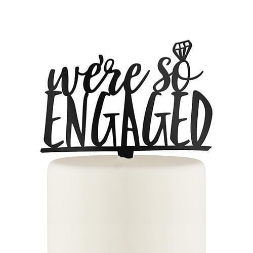 We're So Engaged Acrylic Cake Topper - Black (Pack of 1)-Wedding Cake Toppers-JadeMoghul Inc.