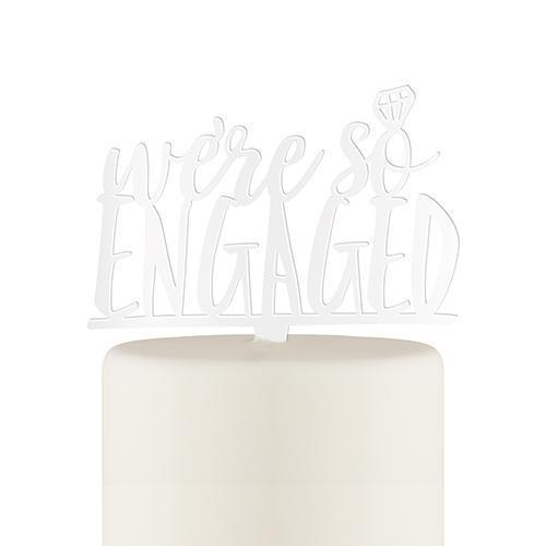 We're So Engaged Acrylic Cake Topper - White (Pack of 1)-Wedding Cake Toppers-JadeMoghul Inc.
