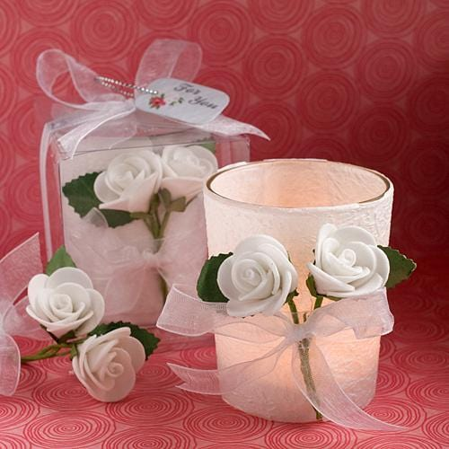White Rose Candle Favors-Wedding Reception Decorations-JadeMoghul Inc.