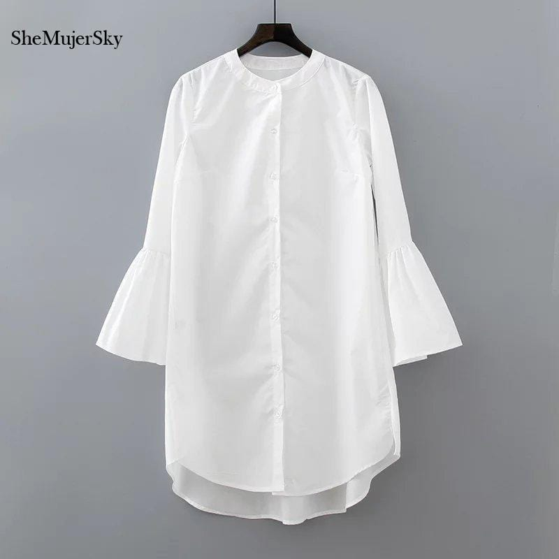 White Shirt Dress Summer 2017 Fashion Flare Sleeve Elegant Woman Dress Casual Clothing Vestidos-White-S-JadeMoghul Inc.