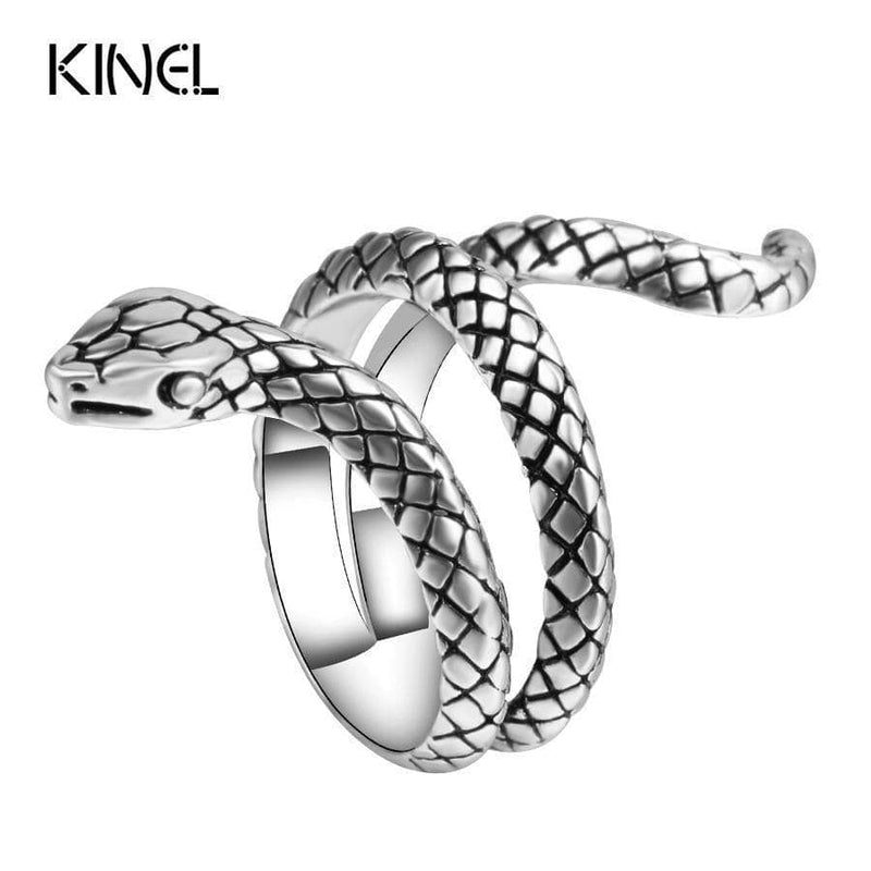 Wholesale Fashion Snake Rings For Women Color Silver Heavy Metals Punk Rock Ring Vintage Animal Jewelry AExp