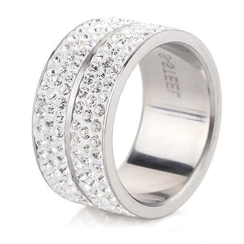 Wholesale High Quality Classic Stainless Steel 6 Row Crystal Jewelry Wedding Ring-5.5-White-JadeMoghul Inc.