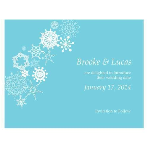 Winter Finery Save The Date Card Berry (Pack of 1)-Weddingstar-Aqua Blue-JadeMoghul Inc.