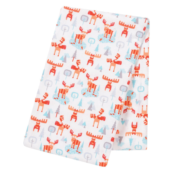 Winter Moose Jumbo Deluxe Flannel Swaddle Blanket-GRAY DV-JadeMoghul Inc.