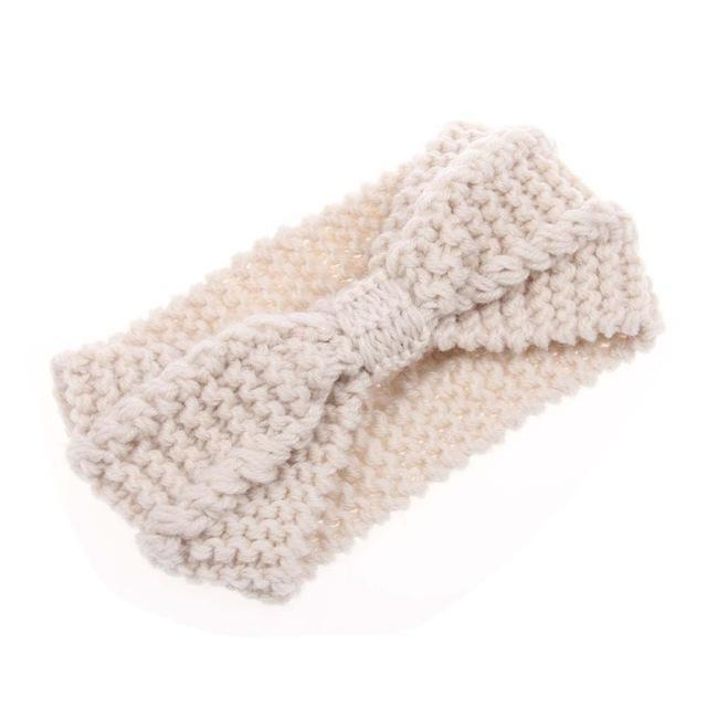 Winter Warmer Ear Knitted Headband Turban For Lady Women Crochet Bow Stretch Hairband Headwrap Hair Accessories-White-JadeMoghul Inc.