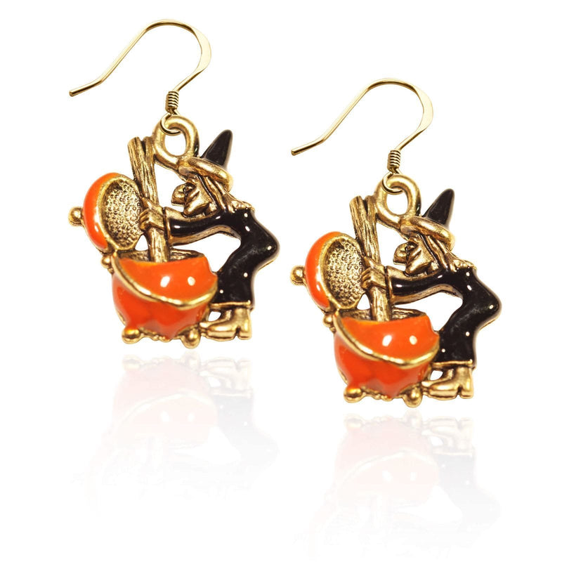 Witch Charm Earrings in Gold-Charm-JadeMoghul Inc.