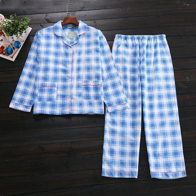 Women 2 Piece cotton Printed Pajama Set-blue plaid-S-JadeMoghul Inc.