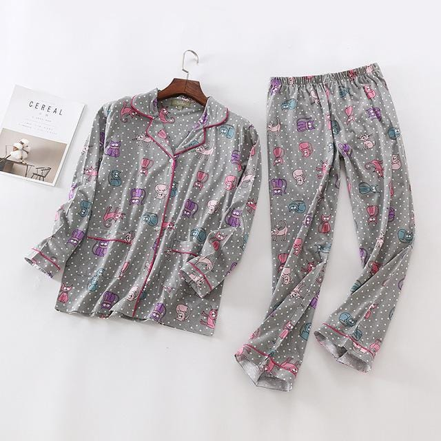 Women 2 Piece cotton Printed Pajama Set-GH-S-JadeMoghul Inc.