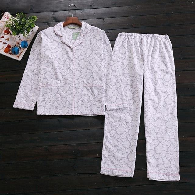 Women 2 Piece cotton Printed Pajama Set-gray Floral-S-JadeMoghul Inc.