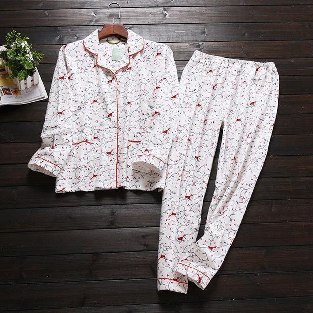 Women 2 Piece cotton Printed Pajama Set-Plum-S-JadeMoghul Inc.