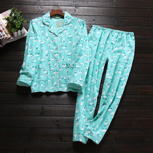 Women 2 Piece cotton Printed Pajama Set-Polar bear-S-JadeMoghul Inc.