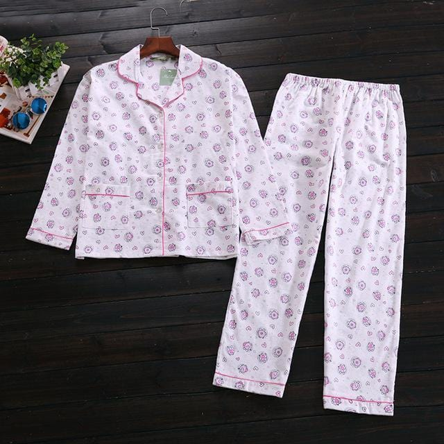 Women 2 Piece cotton Printed Pajama Set-white pig-S-JadeMoghul Inc.