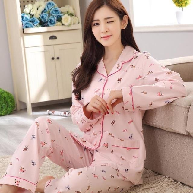 Women 2 Piece Cotton Printed Pajama Set With Front Button Closure-6871-XL-JadeMoghul Inc.