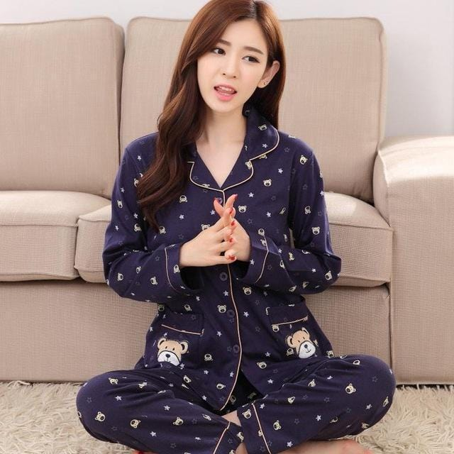 Women 2 Piece Cotton Printed Pajama Set With Front Button Closure-6873-XL-JadeMoghul Inc.