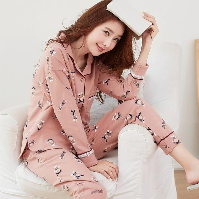 Women 2 Piece Cotton Printed Pajama Set With Front Button Closure-6877-XL-JadeMoghul Inc.
