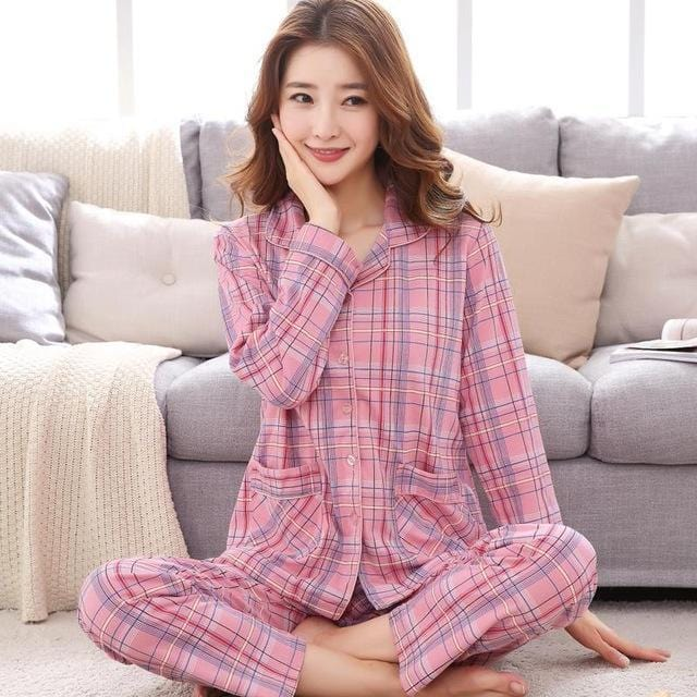 Women 2 Piece Cotton Printed Pajama Set With Front Button Closure-6893am-XL-JadeMoghul Inc.