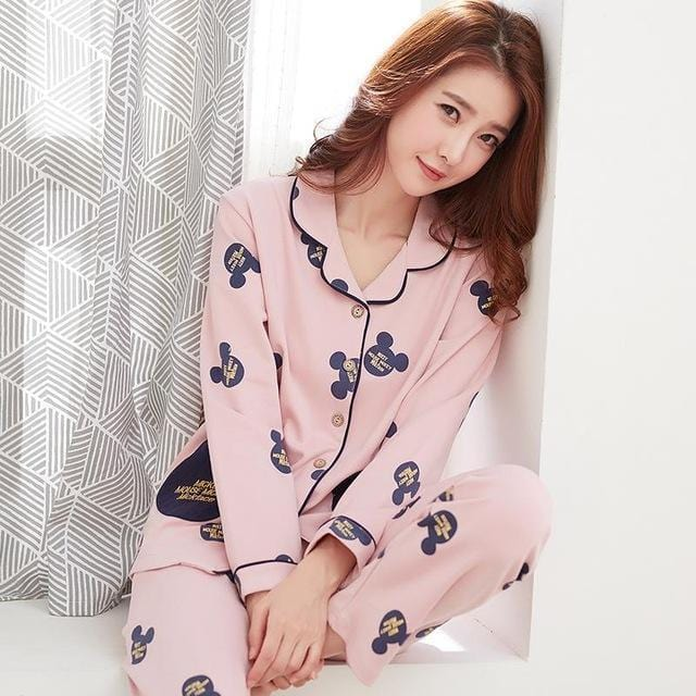 Women 2 Piece Cotton Printed Pajama Set With Front Button Closure-6922am-XL-JadeMoghul Inc.