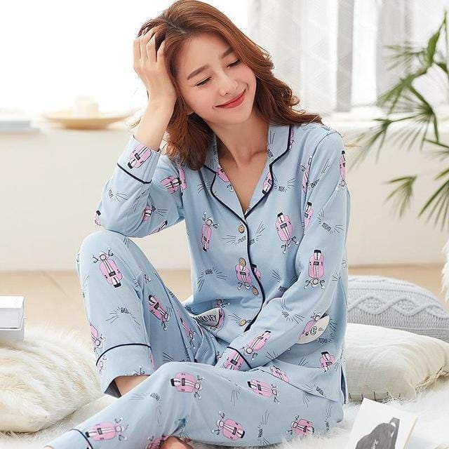 Women 2 Piece Cotton Printed Pajama Set With Front Button Closure-6941am-XL-JadeMoghul Inc.