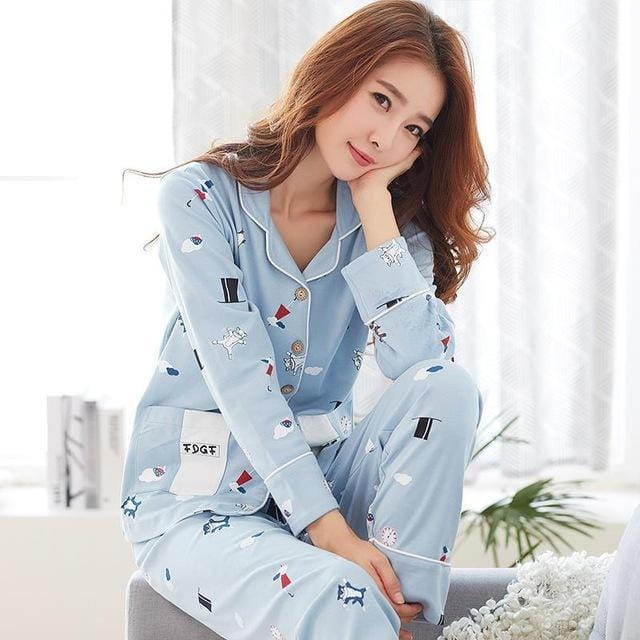 Women 2 Piece Cotton Printed Pajama Set With Front Button Closure-6943am-XL-JadeMoghul Inc.