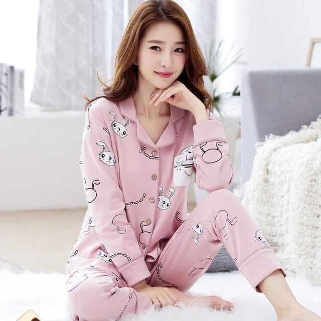 Women 2 Piece Cotton Printed Pajama Set With Front Button Closure-6945am 1-XL-JadeMoghul Inc.
