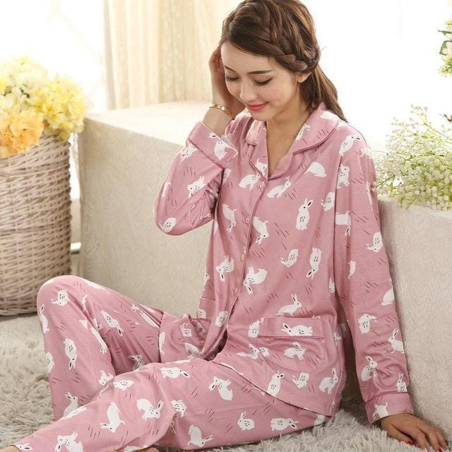 Women 2 Piece Cotton Printed Pajama Set With Front Button Closure-860-XL-JadeMoghul Inc.