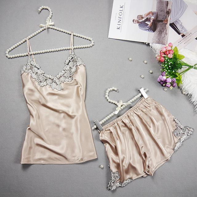 Women 2 Piece Silk Lace Trimmed Camisole And Shorts Sleep Set-Champagne-L-JadeMoghul Inc.