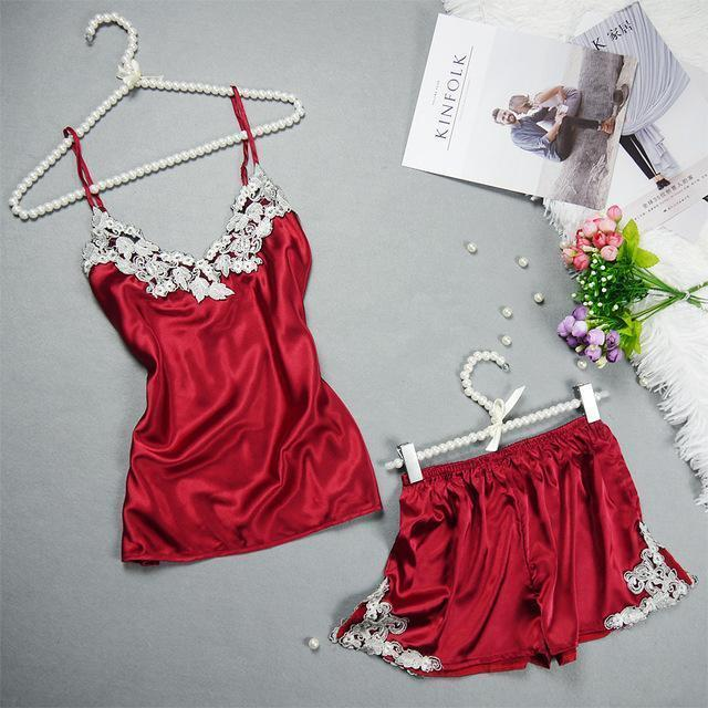 Women 2 Piece Silk Lace Trimmed Camisole And Shorts Sleep Set-Red-L-JadeMoghul Inc.