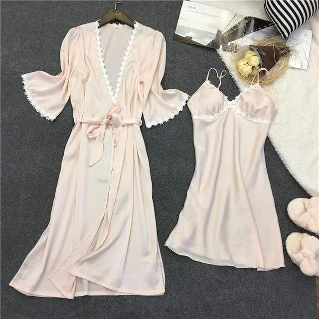 Women 2 Piece Silk Night Gown And Robe Set With Lace Trimming AExp