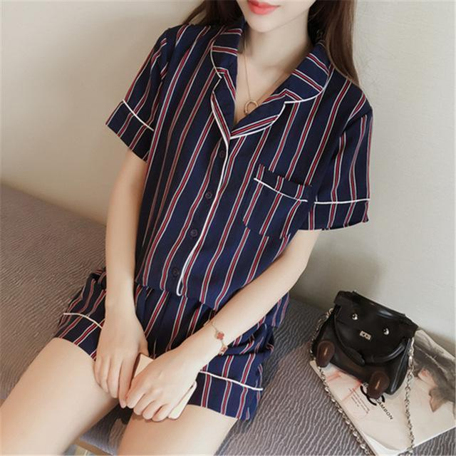 Women 2 Piece Silk Striped Shorts And Shirt Pajama Set-dark navy-JadeMoghul Inc.