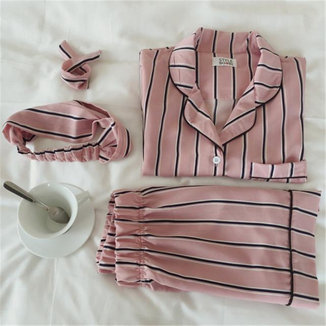 Women 2 Piece Silk Striped Shorts And Shirt Pajama Set-pink-JadeMoghul Inc.