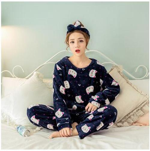 Women 2 Piece Soft Plush Pajama Set-4 Dotted bear-M-JadeMoghul Inc.