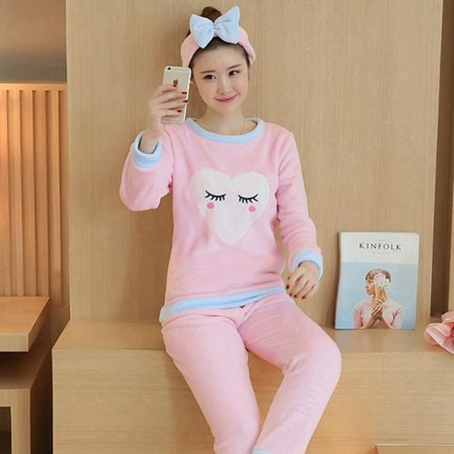 Women 2 Piece Soft Plush Pajama Set-6 Pink eyelashes-M-JadeMoghul Inc.