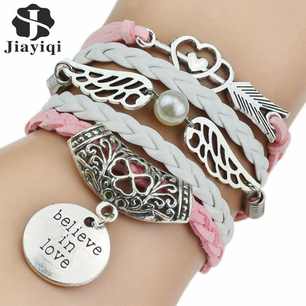 Women 5 Pcs Leather Bracelets With Antique Silver Owl, Tree, Love Charms-1-JadeMoghul Inc.
