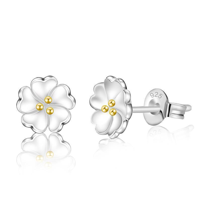 Women .925 Sterling Silver Flower shaped Stud Earrings--JadeMoghul Inc.