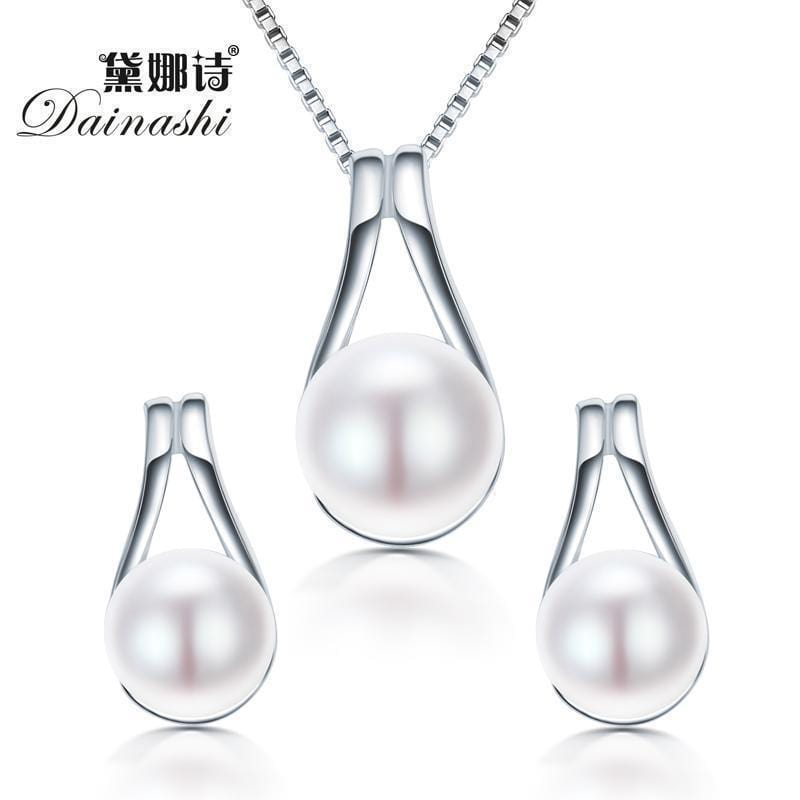 Women 925 Sterling Silver Fresh Water Pearl Pendant And Earrings Set-Pink-JadeMoghul Inc.