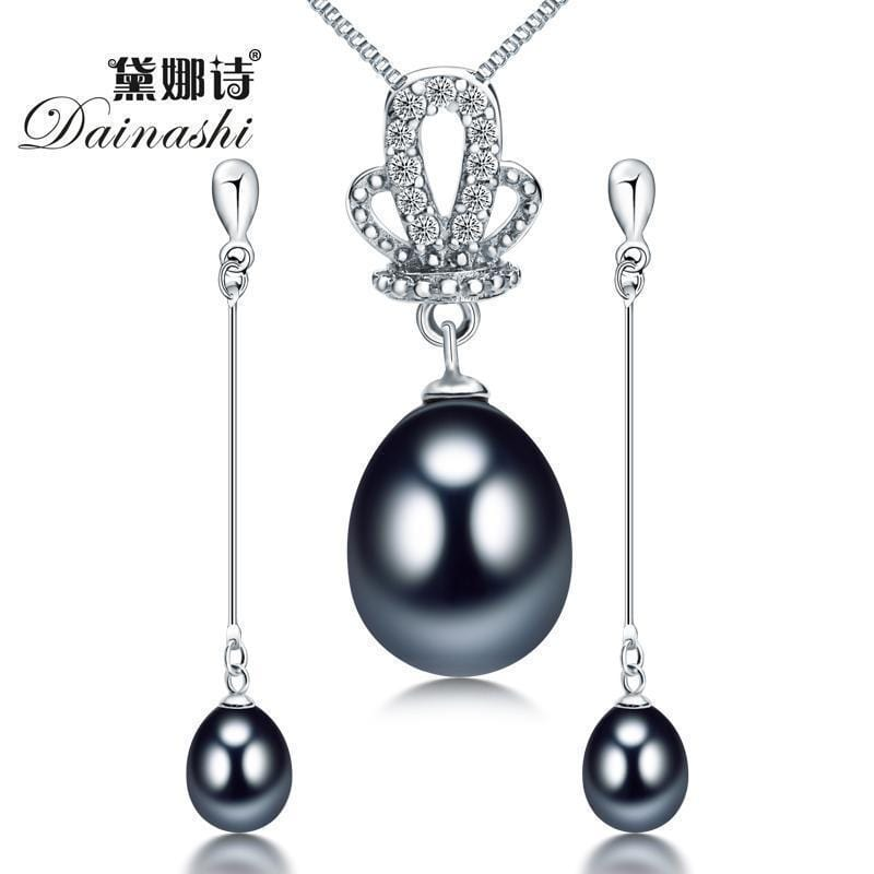 Women 925 Sterling Silver Fresh Water Pearl Princess Crown Pendant And Earrings Set-Black-JadeMoghul Inc.