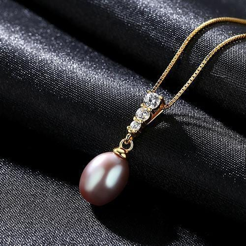 Women 925 Sterling Silver Freshwater Pearl Pendant And Chain-Purple-8-9mm-40cm add 5cm-JadeMoghul Inc.