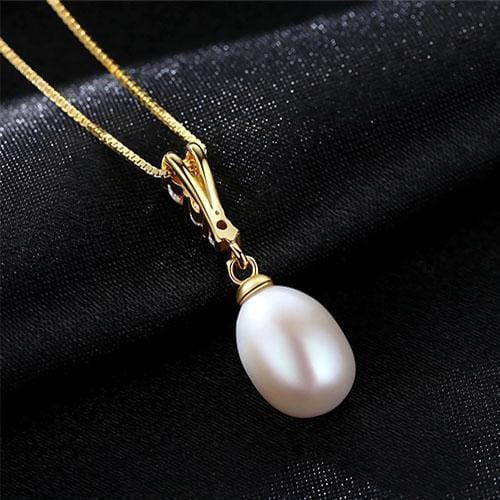 Women 925 Sterling Silver Freshwater Pearl Pendant And Chain-White-8-9mm-40cm add 5cm-JadeMoghul Inc.