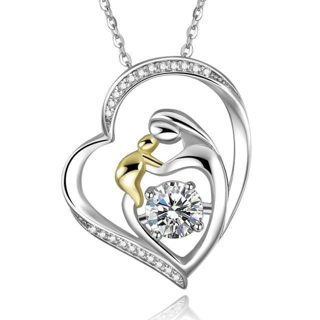 Women 925 Sterling Silver Mother's Love Heart Pendant And Chain--JadeMoghul Inc.