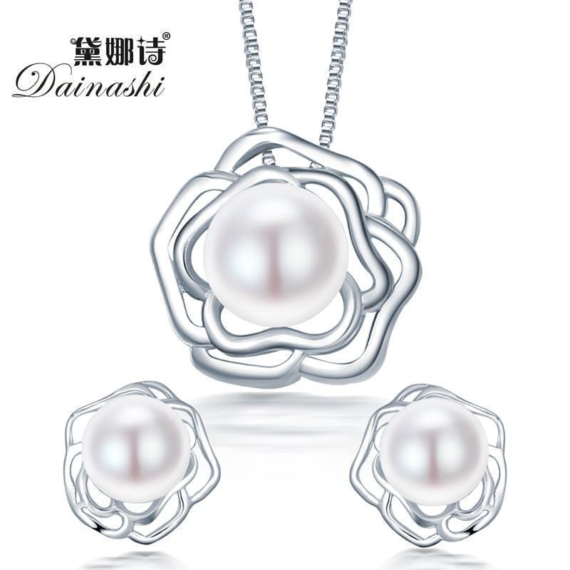 Women 925 Sterling Silver Rose Pendant And Studs Set With Pearls-Pink-JadeMoghul Inc.