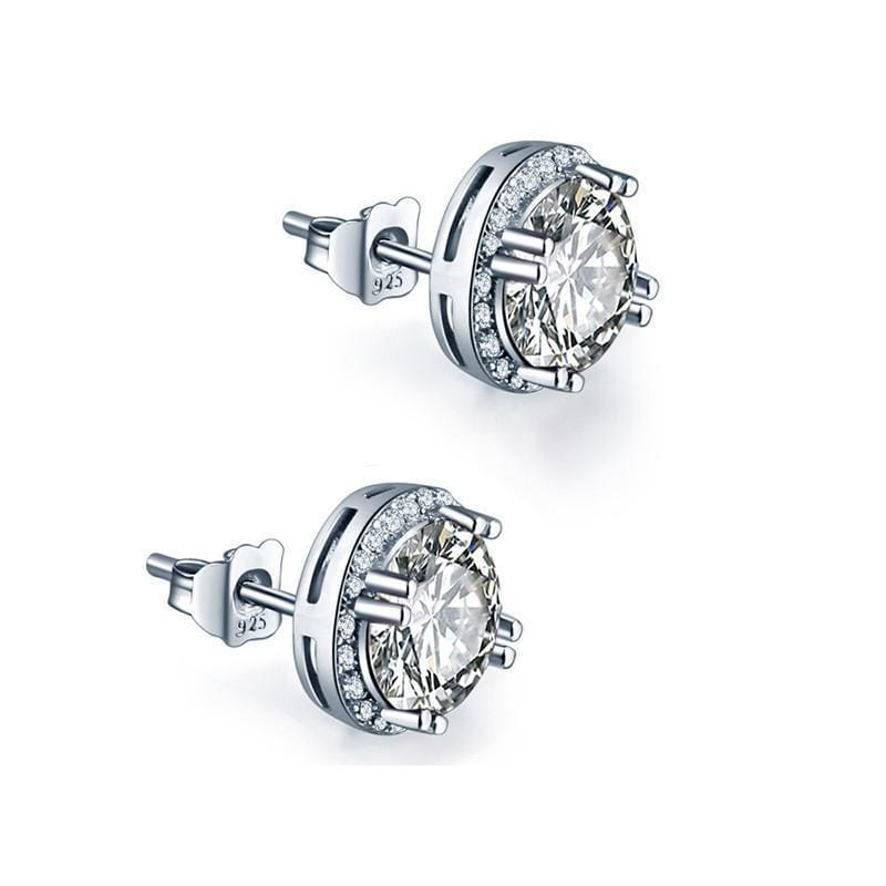 Women 925 Sterling Silver Round Cut AAA Cubic Zircon Stud Earrings--JadeMoghul Inc.